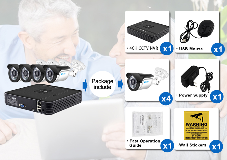Smar HD 4CH 1080P NVR CCTV Kit 4PCS 1MP1.3MP2MP Outdoor IP Camera Kit Home Security CCTV System HDMI P2P Email Alarm (2)