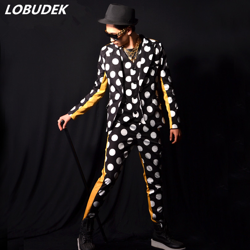 Tide Male Punk Singer Stage Costume Fashion Spots Printing Suits Nightclub Singer Magician Performance Outfit Three Piece Sets