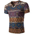 Chinese Style Geometric Pattern Men T Shirt Linen V-neck Fashion Tshirt Homme Short Sleeve Slim Fit T Shirt Men Camisetas Hombre