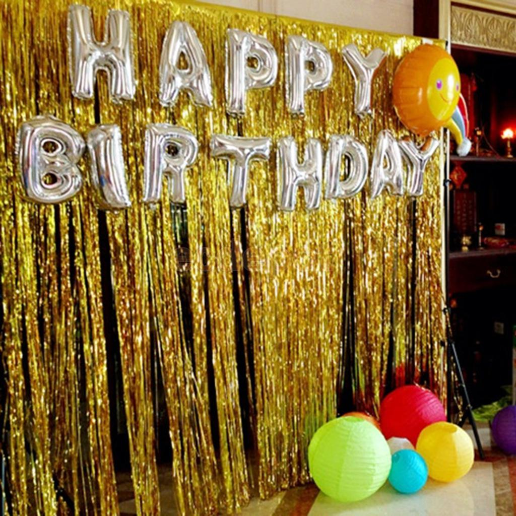 Shiny Foil Fringe Window Curtain Happy Birthday Balloons