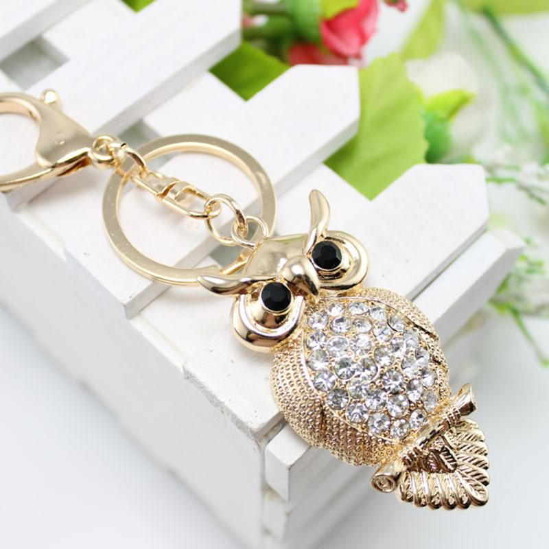 Owl Rhinestone Pendant Keychain For Women Bag Pendant Chic Crystal Car Key Chain Ring Holder Fashion Jewelry
