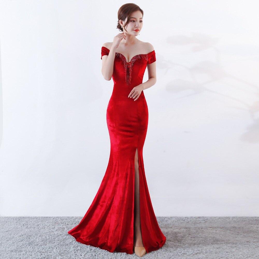 Women Elegant Sexy Appliques Velvet Wine Red Off Shoulder V-Neck Long Mermaid Slim Slit Club Party Dress Vestidos (3)