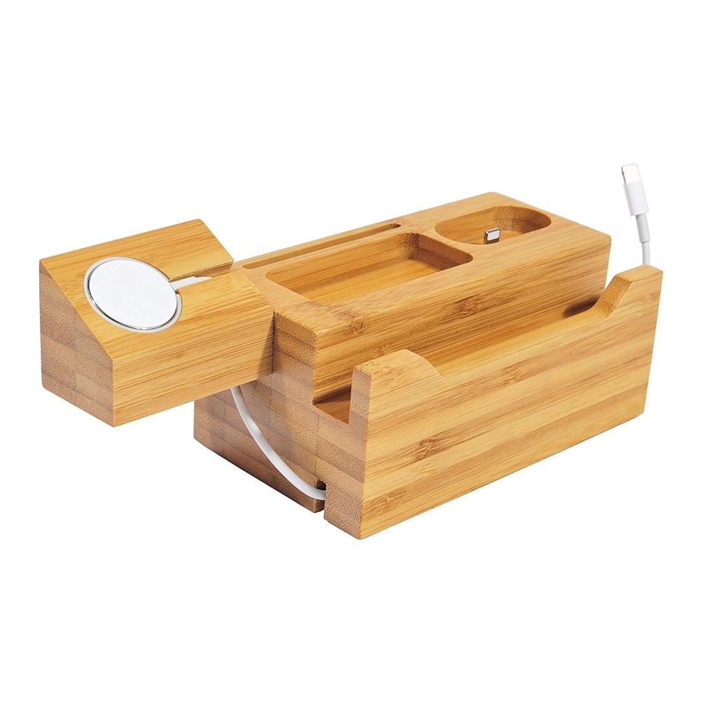 Support de chargeur en bois naturel