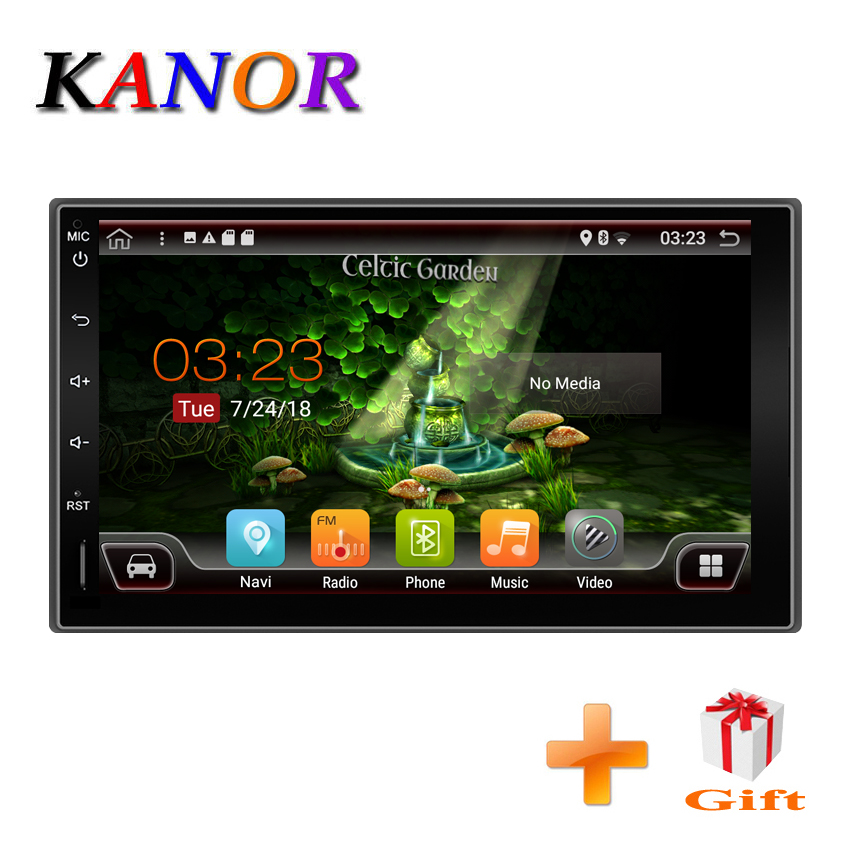 KANOR Quad Core 2+32G 2 Din Android 7.1 Car Audio Stereo Radio With GPS WiFi Universal GPS Navigation Video Head Unit For Nissan kanor octa core android 7 1 2 32g 1024 600 2din car radio for nissan juke 2004 2012 in dash 2 din car gps navigation wifi usb