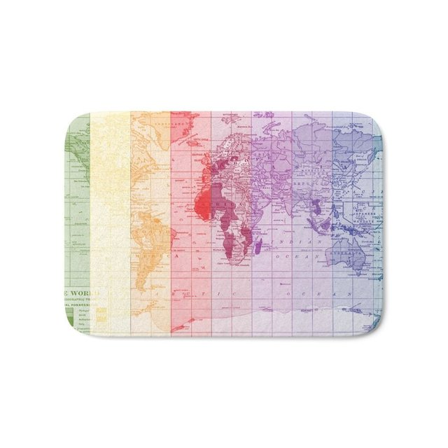 Rainbow World Map Bath Mat 21 X 34 Pattern Coral Fleece Rug Anti