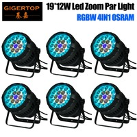 Gigertop 6 Units 19x12W RGBW 4IN1 Zoom Led Par Cans Quad Color Waterproof IP65 Power/DMX Cable 1m Long LCD Display Acrylic LENS