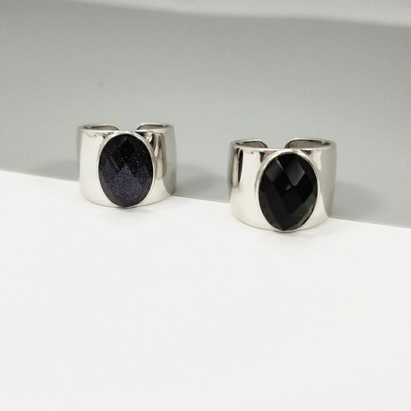 Настоящее стерлингового серебра 925 натуральный черный камень оникс Кольца для Для женщин широкие манжеты кольцо 100% чистого серебра 925 ювели...