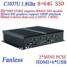 Wide application IPC mini pc 8G RAM 64G SSD fanless INTEL Celeron C1037u 1.8 GHz VGA HDMI RJ45 usb 6*COM windows Linux