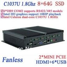 Широкое применение мпк мини-пк 8 г оперативной памяти 64 г SSD безвентиляторный INTEL Celeron C1037u 1.8 ГГц VGA микро-hdmi usb-rj45 usb 6 * COM windows , Linux