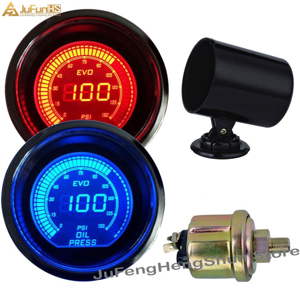 Medidor de presión de aceite de coche de 52 mm Psi 12V Auto Azul Rojo LED de luz Indicadores de presión de combustible digital con manómetro de sensor + soporte de vaina de medidor