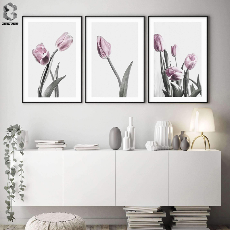Modern Wall Charts Pink Tulip Scandinavian Poster Canvas Art Decorative Botanical Flower Cuadros Decoration Decor Paintings