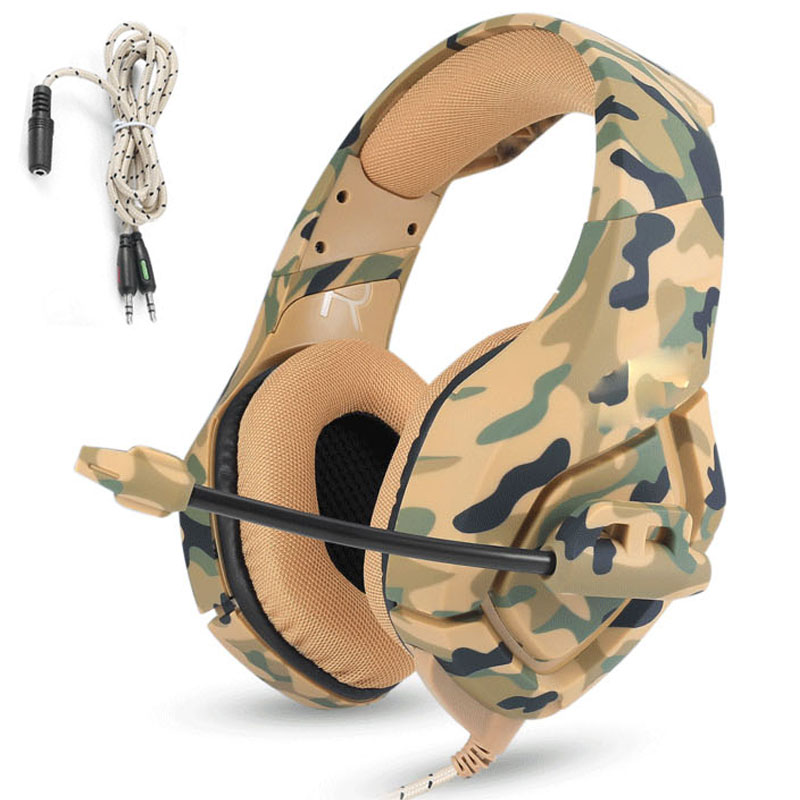 NDJU K1 PS4 Camouflage Headset Gaming Headphones Over-ear Bass Gamer Earphones with MIC for PC Phone Xbox one Tablet casque ndju g9000 bass gaming headphone ps4 headset earphone with 3 5mm led light player gamer headphones with mic for pc laptop phones