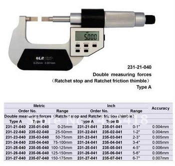 Outside micrometer . Five buttons Blade Micrometers.0-1inch.High quality