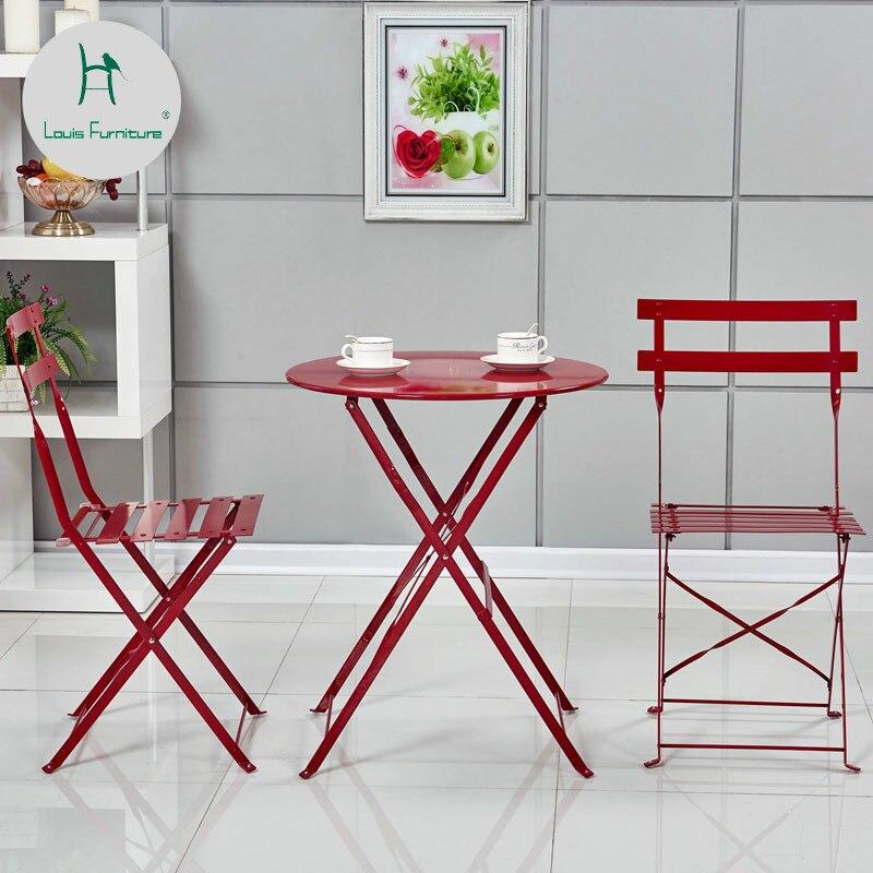 Louis Fashion Garden Sets Balcony Iron Art Folding Outdoor Leisure Coffee Table Chair Combination