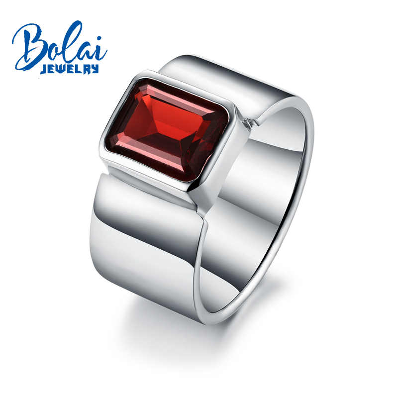 Bolaijewelry,Natural garnet oct8*10mm Gemstone Unisex Rings 925 sterling silver fine jewelry for women daily wear party gift box wwd women s wear daily 2012 11 26