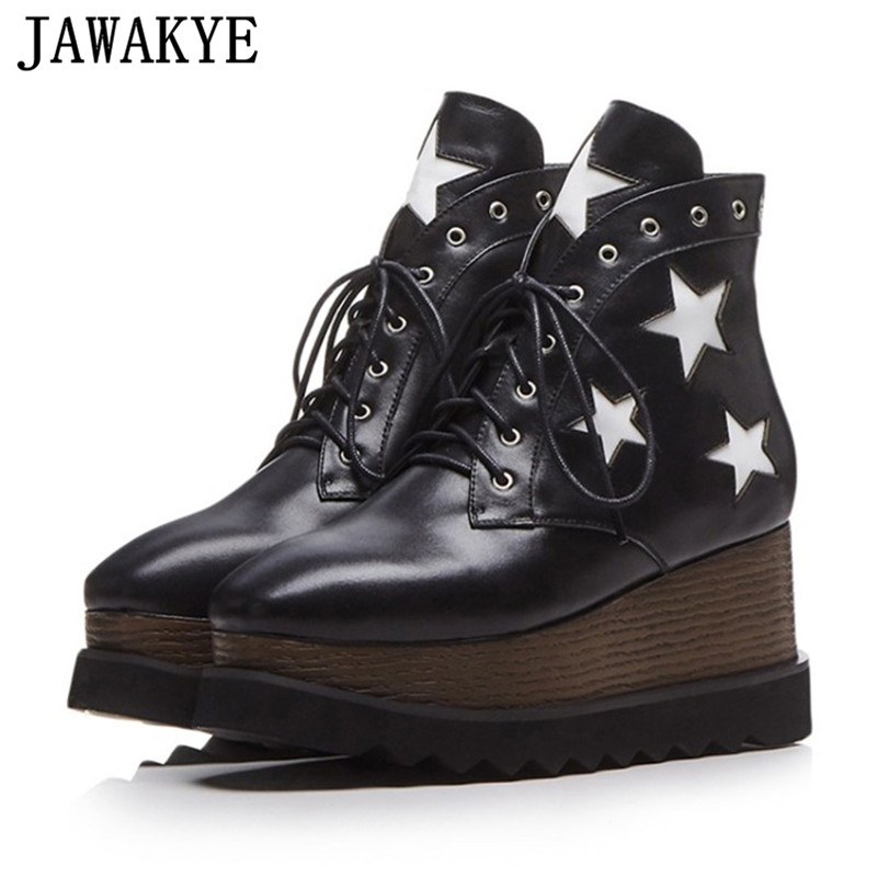 Fetish High Top Casual Shoes Lace up Platform wedge heel ankle Boots for Women patchwork real leather white star Botas Mujer