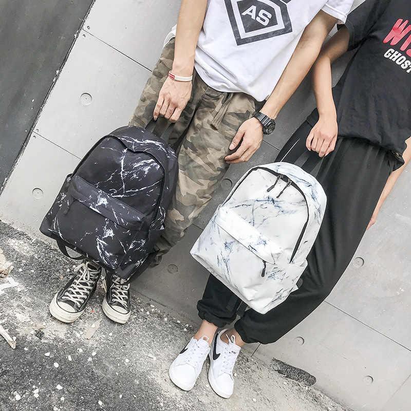 2019 Fashion Ransel Wanita Pria Kanvas Ransel untuk Gadis Remaja Tas Kasual Marmer Ransel Wanita Ransel Sekolah untuk Wanita