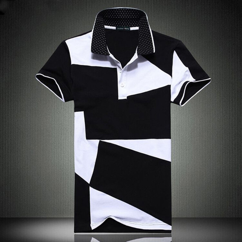 2019 New Casual POLO Shirt Male Summer Fashion Men 39 s Black And White Stitching Cotton Short Sleeved Polo Shirt Slim Men 5XL 6XL in Polo from Men 39 s Clothing