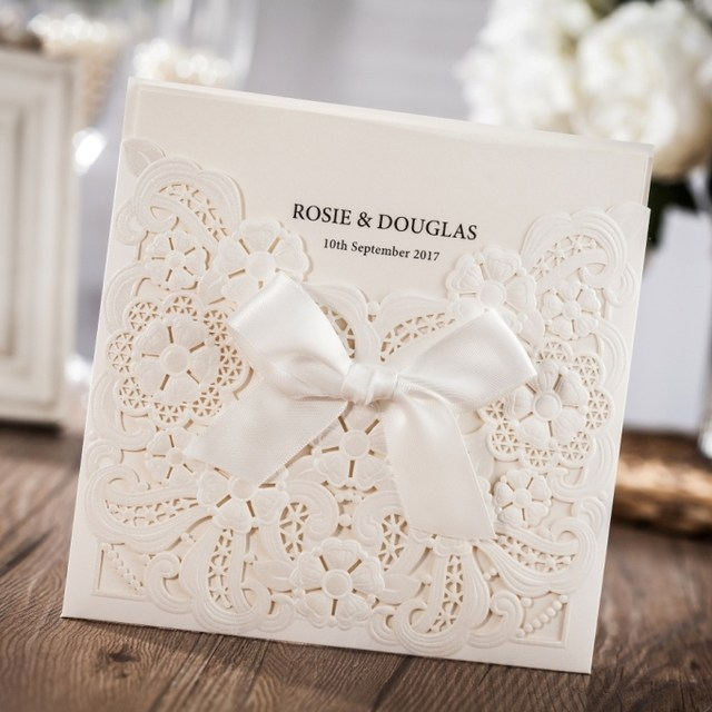 Online shop cheap wedding invitation card with laser cut embossed image filmwisefo