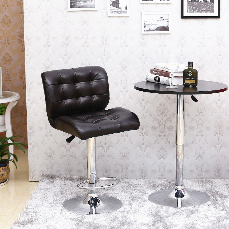 Generous European high-end leisure lifting bar chairs rotating bar chair with backrest continental bar chairs rotating chair lift back bar stool reception tall silver beauty makeup chair
