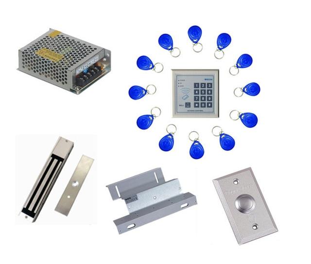 Free ship by DHL ,access control kit ,one EM keypad access control+power+magnetic lock+ZL bracket+button+10 em card,sn:em-004