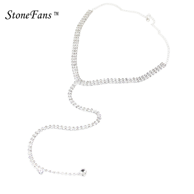 StoneFans Rhinestone Luxury Cubic Zircon Crystal Chokers Long Pendant Necklace Charm Women Sweater Chain Jewelry Accessories LPS