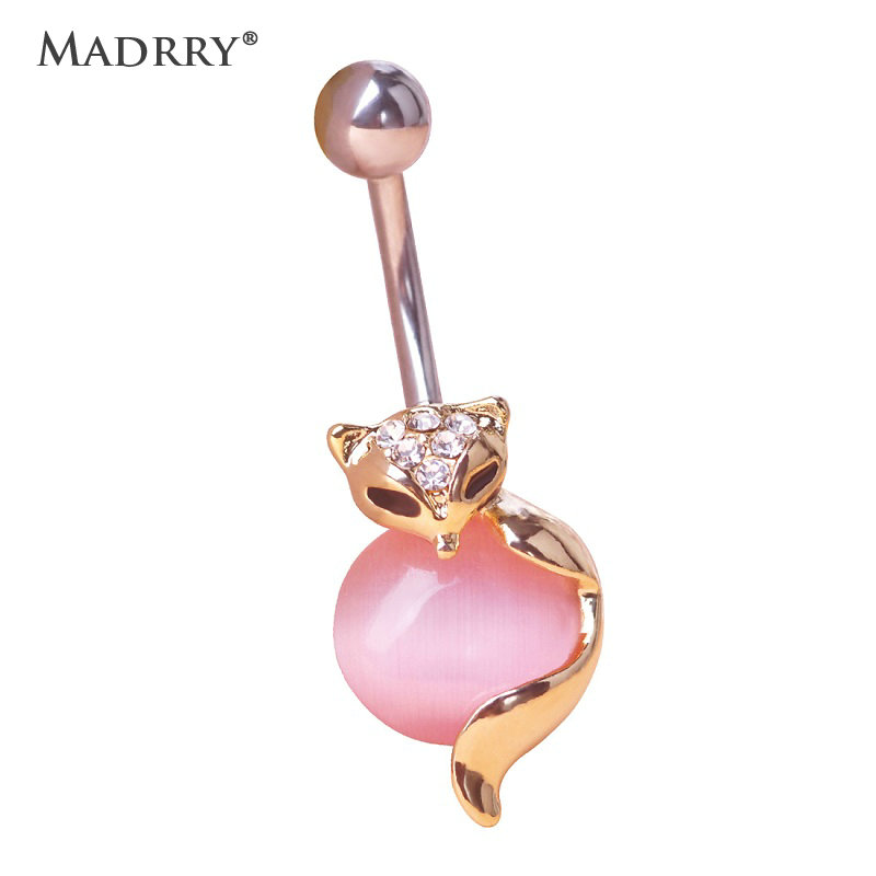 Madrry created-opal Fox Shape Piercing Navel Ring 316L Surgical Steel Plug Belly Button Ring Sexy Body Animal Jewelry Bijoux free shipping 5pcs lot 2sk3523 k3523 to3p offen use laptop p 100% new original