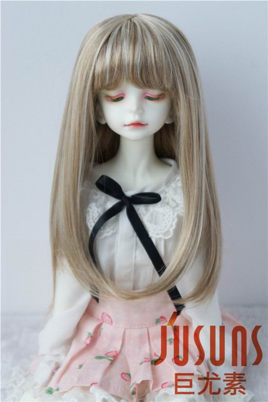 JD371 18-20CM 7-8inch Doll wigs MSD 1/4 Synthetic mohair doll wigs Long hair with full bang BJD wig adiors long side bang colormix side braid synthetic wig