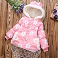 2016 Autumn Winter Flower Pattern Newborn Baby Girls Jackets Plus Velvet Cotton-padded Jacket Thickening Warm Outerwear