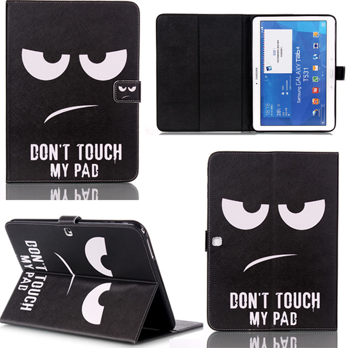 Fashion black eye&tower pattern PU leather stand holder Cover Case for Samsung Galaxy Tab 4 10.1 SM T530 T531 T535 Tablet M3D25D pu leather tablet case cover for samsung galaxy tab 4 10 1 sm t531 t530 t531 t535 luxury stand case protective shell 10 1 inch