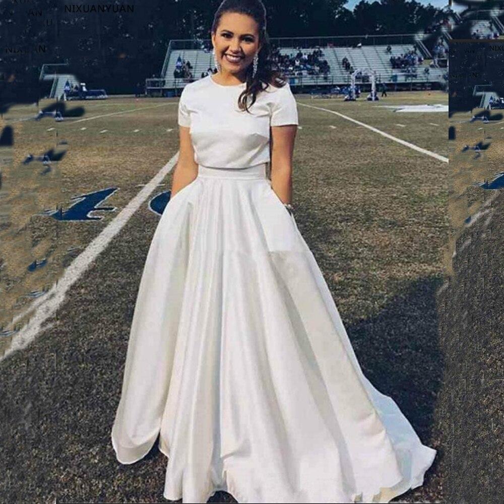 Simple Cheap Satin Wedding Dress Elegant Two Piece A Line Floor Length Custom Made Bridal Gown Dresses