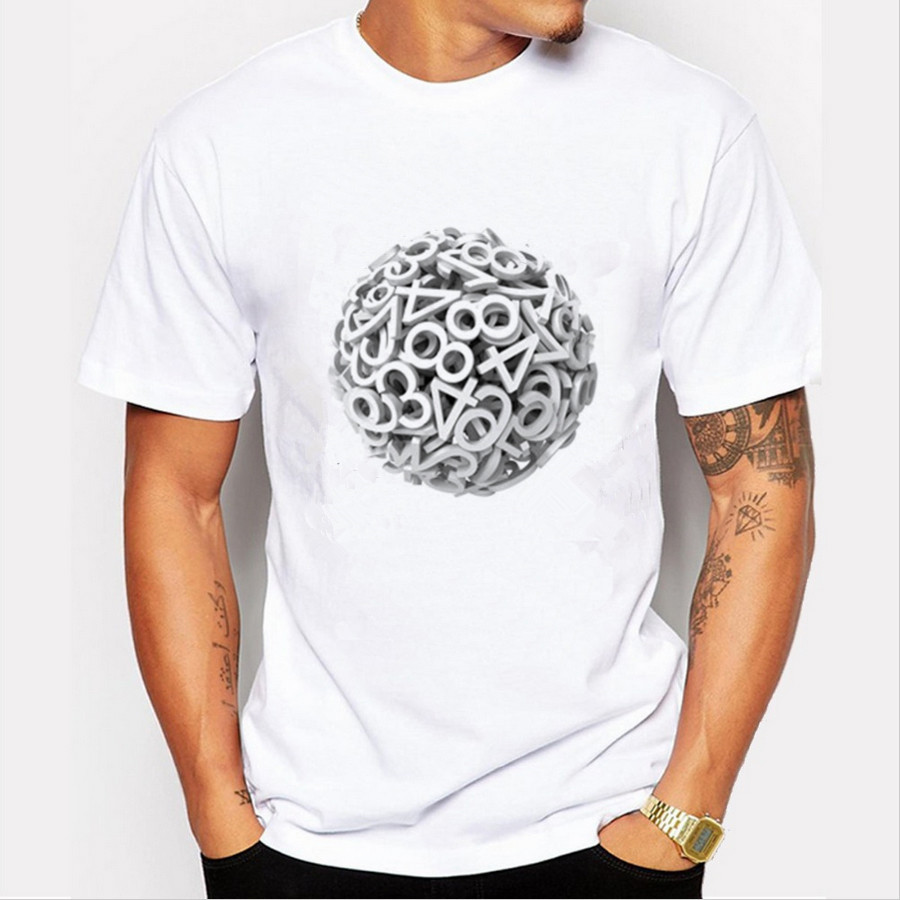 2017 Europe and America summer Men T shirt fashion cotton Short sleeved white Ball of letters