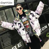 Estampado de camuflaje Chaqueta de Algodón Acolchado de Doble Uso 2017 de Invierno Calle Mujeres Caliente Grueso Abrigo con capucha LT112
