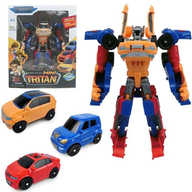 Korean Cartoon Deformation Car Action Three in One DIY Tritan Tobot Robot Model 3 in 1 Puzzle Russia Toys For Kids Gift