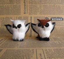 a pair of cute simulation owl toy polyethylene & furs small owl doll about 9x6x8cm
