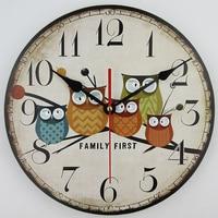 2017 antiken Stil Holz Wanduhr Owl Design Vintage MDF Wanduhr 3D Kunst Uhr Horloge Murale