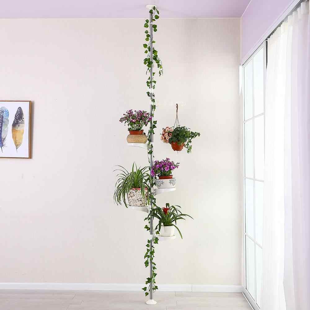 Home Garden Decoration Indoor Plant Flower Display Standing Rack Plant Holder Tension Pole Rack with Planter Trays DQ1607-2