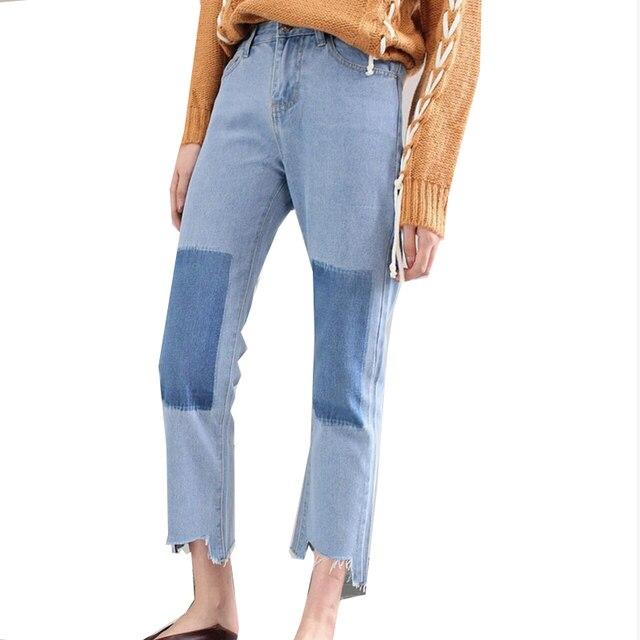 130d0a36eb Hit-color de Rodillas Barba-borde Pantalones de Jean de Las Mujeres Femme  Ocio