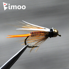 Bimoo 12pcs 12# Brass Bead Head Prince Nymph Trout Fishing Flies Fast Sinking Fly