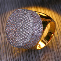 Hip Hop Bling Iced Out Copper Full Rhinestone Cz Zircon Ring Luxury Ring For Women Men Jewelry Dropshipping 7 11Size