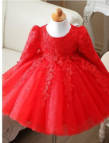 7b1c747b32376 US $24.76 49% OFF|High Quality Red/White baby girls long sleeve 1 year old  birthday dress sequin baptism christening wedding dress for infant-in ...