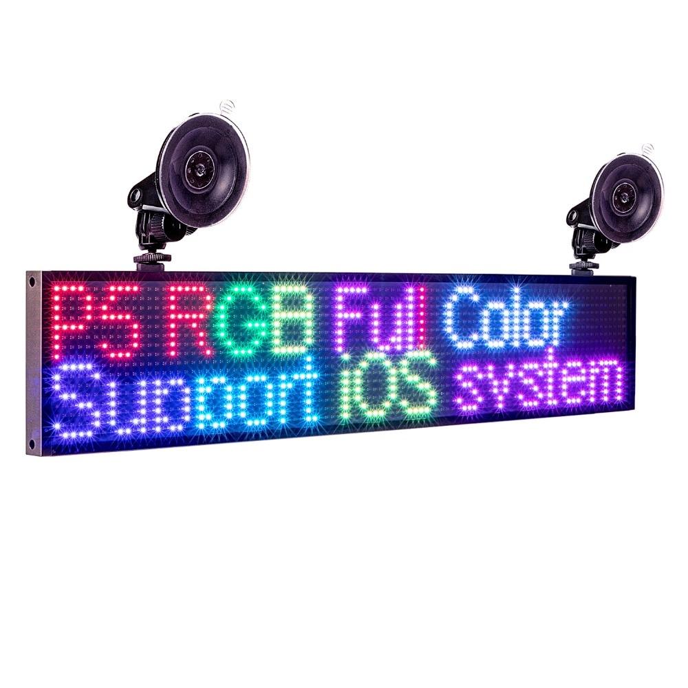 12v carro p5mm 16*96 pontos rgb led sinal de cor completa programável rolagem de informações multifuncional led painel de exibição