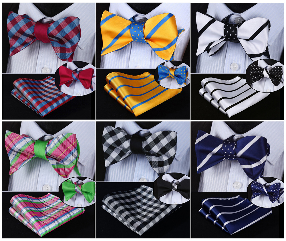 Check Striped 100%Silk Double Sided Woven Men Butterfly Self Bow Tie BowTie Pocket Square Handkerchief Hanky Suit Set #RU1