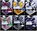 Comprobar A Rayas 100% Seda Doble Cara Tejida Hombres Auto Pajarita de Mariposa BowTie Pocket Square Pañuelo Pañuelo Set Suit # G4