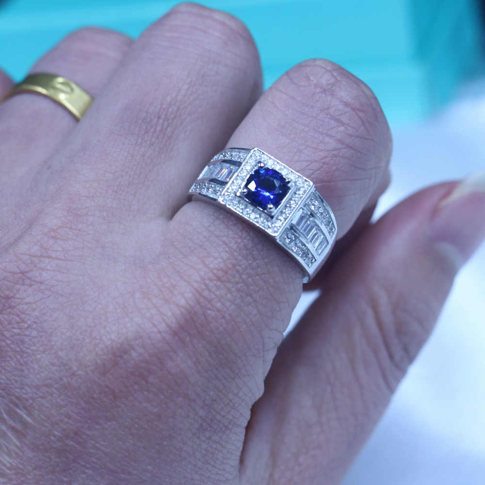 Настоящие мужские украшения Soild 925 пробы Серебряное женское кольцо 1ct камень для рождения 5A циркон камень AAA Cz вечерние Вечеринка обручальное кольцо для мужчин