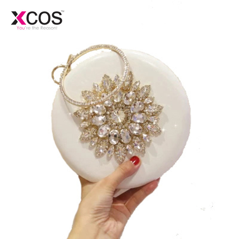 Luxury Brand Design Round Shaped Women Evening Bags Diamonds Red White Diamond Day Clutches Chain Shoulder Bags