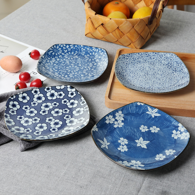 Japanese-Style Underglaze Color Creative Dishes Profiled Plate Western Dish Rounded Square Plate Ceramic Tableware : japanese square plates - Pezcame.Com