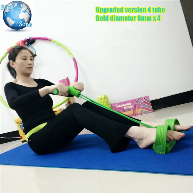 Four Tubes Sit Up Rally Yoga Resistance Band With Foot Pedal Rally Waist Hip Lap Belly Body Fitness Tool For Yoga Home Equipment