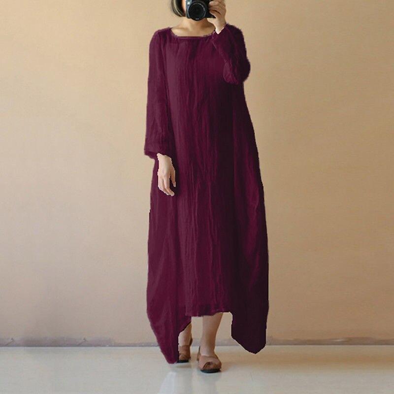 vestido mujer verano 2018 Cotton Linen Maxi Dress Long Sleeve Casual Boho Kaftan Basic Dress