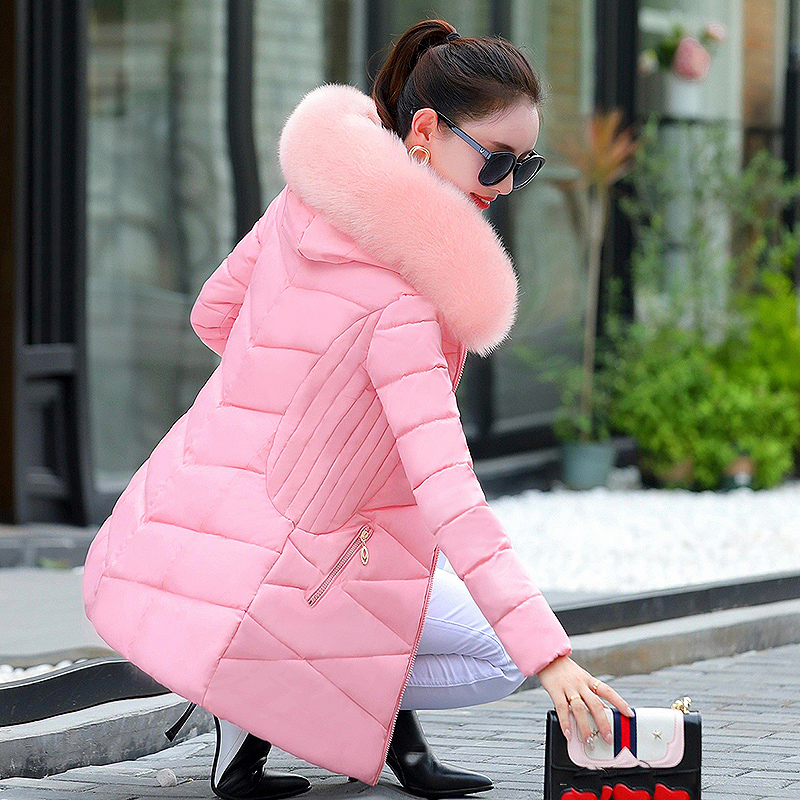 2017 Winter Jacket Women Cotton down jacket Coat Fur Collar Hood Parka Female Long Jackets Thick Warm Outerwear chaqueta mujer x long woman warm winter down coat camouflage brand really fur collar hood print down jackets with pockets size m 3xl